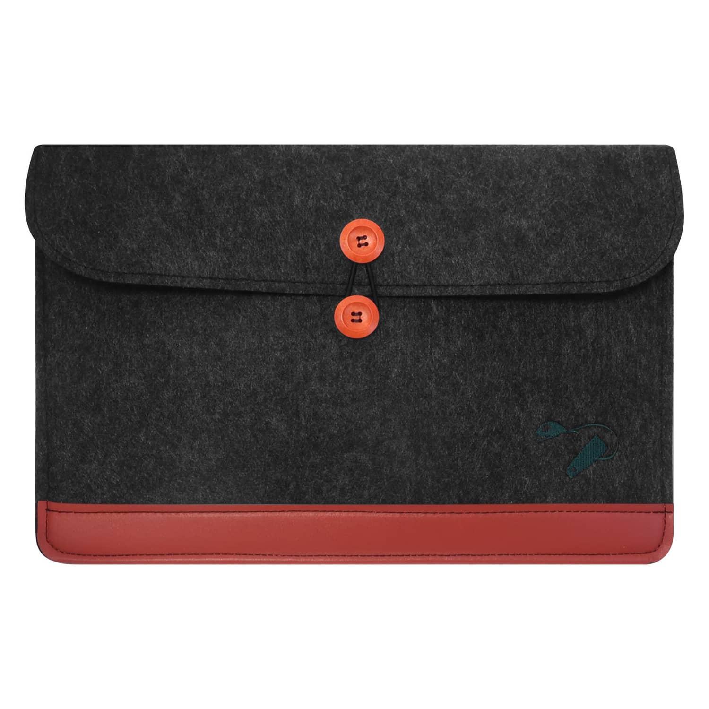 Felt case Laptop - darkgrey limited - bottom leather 1