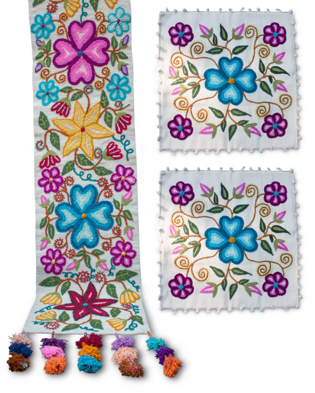 3er-Set Kissen Bettläufer Flores Ayacuchanas